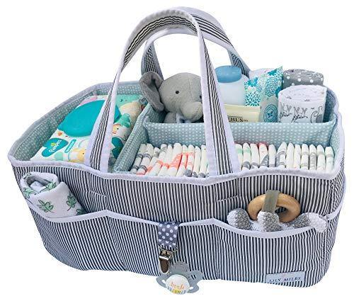 Lily Miles Baby Diaper Caddy - Large Organizer Tote Bag for Infant Boy or Girl - Baby Shower Gift - Nursery Must Haves - Registry Favorites - Collapsible Newborn Caddie Car Travel - PHUNUZ