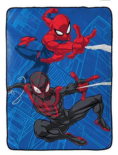 Jay Franco Marvel Spiderman Raschel Blanket - Measures 60 x 80 inches, Kids Bedding Features Miles Morales - Fade Resistant Super Soft (Official Marvel Product) - PHUNUZ