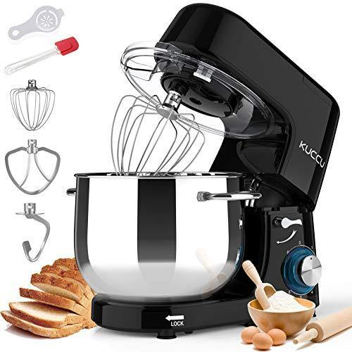 Kuccu Stand Mixer, 8.5 Qt 660W, 6-Speed Tilt-Head Food Dough Mixer, Electric Kitchen Mixer with Dough Hook, Flat Beater & Wire Whisk, Mixing Bowl (8.5-QT, Black) - PHUNUZ