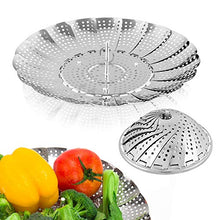 "Load image into Gallery viewer, Sayfine Vegetable Steamer Basket, Premium Stainless Steel Veggie Steamer Basket - Folding Expandable Steamers to Fits Various Size Pot (6"" to 10.5"")"