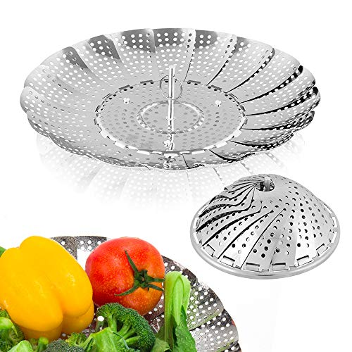 Sayfine Vegetable Steamer Basket, Premium Stainless Steel Veggie Steamer Basket - Folding Expandable Steamers to Fits Various Size Pot (6