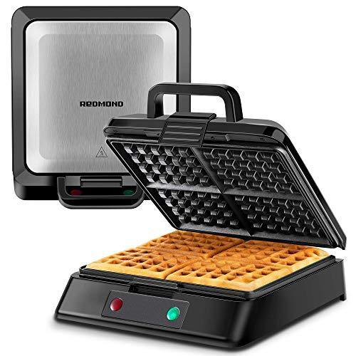 REDMOND Belgian Waffle Maker, 4-Slice Square Stainless Steel Anti-Overflow Waffle Iron with Temperature Control, Non-stick Plates, Cool Touch Handle, LED Indicator, Compact & Fast, 1300W, WM003 - PHUNUZ