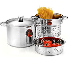 Load image into Gallery viewer, Cook N Home 4-Piece 8 Quart Multipots, Stainless Steel Pasta Cooker Steamer