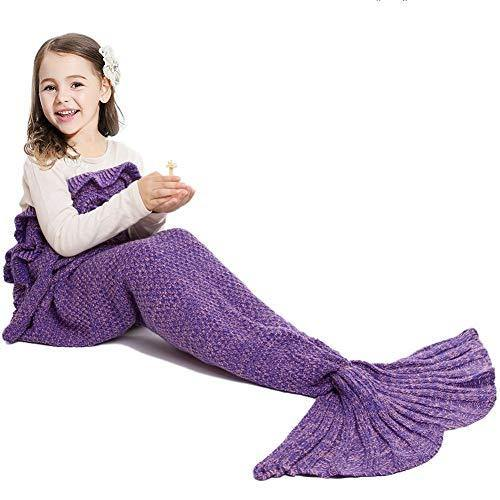 JR.WHITE Mermaid Tail Blanket for Kids Adult,Hand Crochet Snuggle Mermaid,All Seasons Seatail Sleeping Bag Blanket (Purple) - PHUNUZ