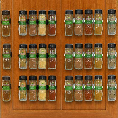 SimpleHouseware 30 Spice Gripper Clips Strips Cabinet Holder - 6 Strips, Holds 30 Jars - PHUNUZ