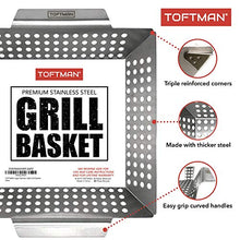 Load image into Gallery viewer, TOFTMAN Vegetable Grill Basket - Heavy Duty BBQ Pan - Grilling Wok Tray for Veggies, Shrimp, Kabob, Fish, and Meat - Stainless Steel Barbecue Accessories for Outdoors - Bonus Nonstick Basting Brush
