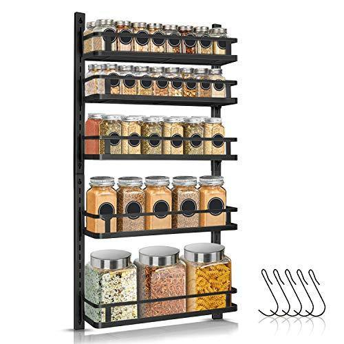 Spice Rack Wall Mount, G-TING 5 Tier Height-adjustable Wall Spice Rack Organizer Hanging Spice Storage Spice Shelf with 5 Hooks, Dual-use Seasoning Organizer for Kitchen Cabinet Pantry Bathroom Door - PHUNUZ