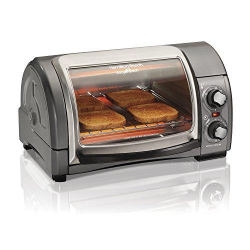 Hamilton Beach 31344D Easy Reach With Roll-Top Door Toaster Oven 4-Slice Silver - PHUNUZ