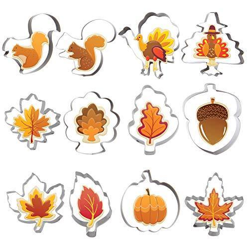 Fall Thanksgiving Cookie Cutter Set 12 PCS Pumpkin, Turkey, Maple Leaf, Oak Leaf, Squirrel and Acorn for Autumn Thanksgiving Christmas Wedding Party Biscuit Fondant Cutters Stainless Steel - PHUNUZ