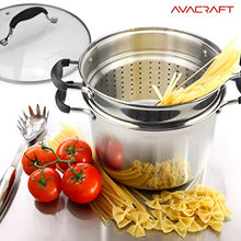 Load image into Gallery viewer, AVACRAFT 18/10 Stainless Steel, 4 Piece Pasta Pot with Strainer Insert, Stock Pot with Steamer Basket and Pasta Pot Insert, Pasta Cooker Set with Glass Lid, 7 Quart