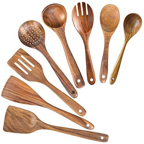 Wooden Spoons for Cooking,Nonstick Kitchen Utensil Set,Wooden Spoons Cooking Utensil Set Non Scratch Natural Teak Wooden Utensils for Cooking(Teak 8 Pack) - PHUNUZ