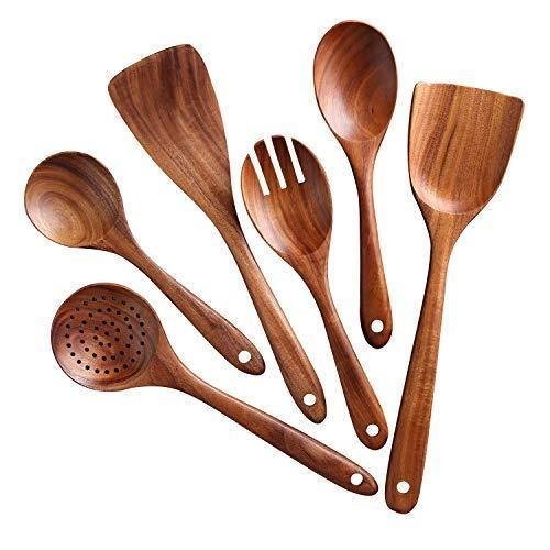 Kitchen Utensils Set,NAYAHOSE Wooden Cooking Utensil Set Non-stick Pan Kitchen Tool Wooden Cooking Spoons and Spatulas Wooden Spoons for cooking salad fork - PHUNUZ