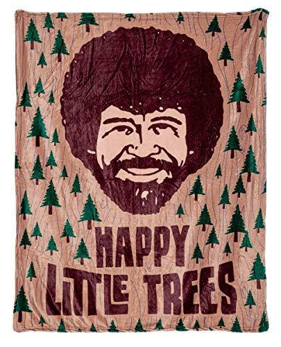 Calhoun Officially Licensed Bob Ross Happy Little Trees Plush Throw Blanket - PHUNUZ