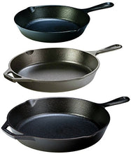 Load image into Gallery viewer, Lodge Seasoned Cast Iron 3 Skillet Bundle. 12 inches and 10.25 inches with 8 inch Set of 3 Cast Iron Frying Pans
