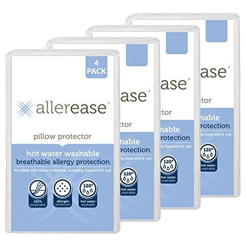 Aller-Ease Hot Water Washable Hypoallergenic Zippered Pillow Protectors, Allergist Recommended, Prevent Collection of Dust Mites and Other Allergens, Standard/Queen Sized, Pack of 4, 4 Pack, White - PHUNUZ