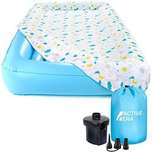 Active Era Kids Air Mattress - Portable Inflatable Travel Air Bed with Toddler Safety Bumpers, Soft Washable Fitted Sheet and Fast AC Pump (60 Second Inflation) - PHUNUZ