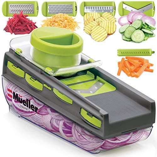 Mueller Mandoline Slicer, Premium Quality V-Pro Five Blade Adjustable Vegetable Slicer, Cutter, Shredder, Veggie Slicers for Fruits and Vegetables - PHUNUZ