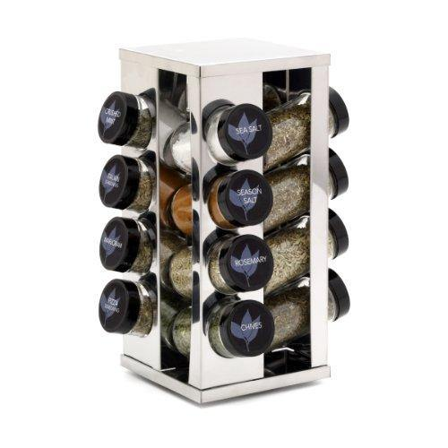 Kamenstein Heritage 16-Jar Revolving Countertop Spice Rack Organizer with Free Spice Refills for 5 Years - PHUNUZ
