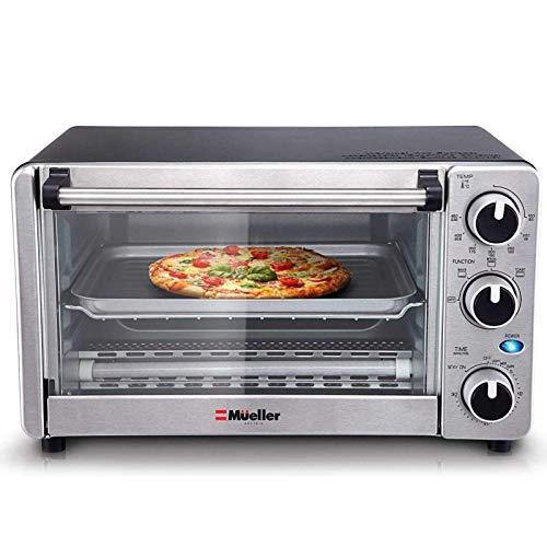 Toaster Oven 4 Slice, Multi-function Stainless Steel Finish with Timer - Toast - Bake - Broil Settings, Natural Convection - 1100 Watts of Power, Includes Baking Pan and Rack by Mueller Austria - PHUNUZ