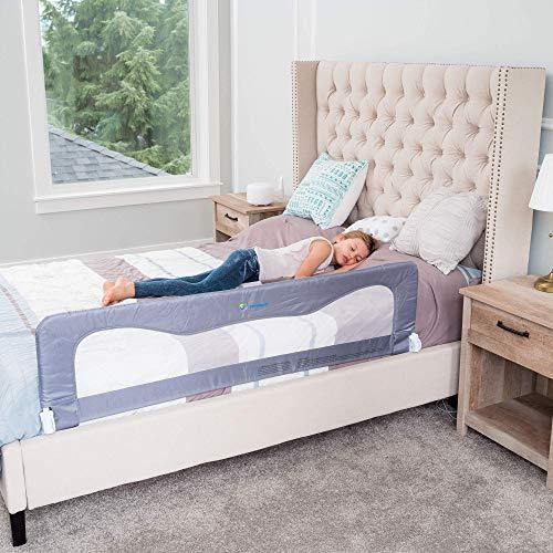 Bed Rails for Toddlers – Bed Guard Rail for Toddlers –Toddler Bed Rails- Kids Bed Rail-Bed Rails for Queen&King Bed –Bed Rails for Full Size Bed –Bed Rails For Twin Bed-Bed Rail Guard-Grey(59L19.5H)in - PHUNUZ