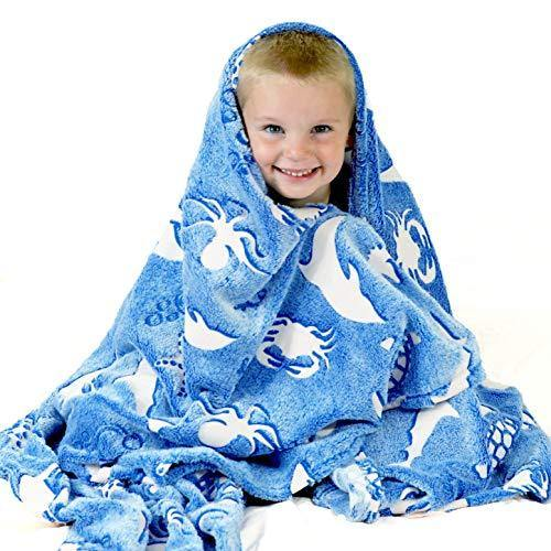 Ocean Blanket Glow in The Dark Luminous Ocean Animal Blanket for Kids - Soft Plush Blue Sea Creature Blanket Throw for Girls & Boys - Large 60in x 50in Glowing Shark & Turtle Blankets Gift - PHUNUZ