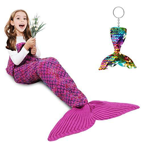 Mermaid Tail Blanket, Amyhomie Mermaid Blanket Adult Mermaid Tail Blanket, Crotchet Kids Mermaid Tail Blanket for Girls (Rainbow, Kids) - PHUNUZ