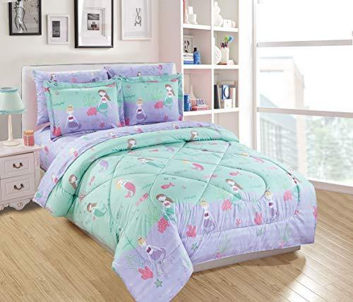 Mk Home Full Size Comforter Set for Girls Mermaids Fishes Aqua Lavender Pink New - PHUNUZ