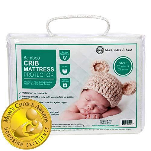 Crib Mattress Protector Pad (Mom's Choice Award Winner) - by Margaux & May - Noiseless - Dryer Friendly - Deluxe Bamboo Rayon - Fitted, Quilted - Stain Protection Baby, Infant & Toddler Cover - PHUNUZ