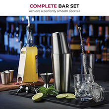 Load image into Gallery viewer, Premium Cocktail Shaker Bar Tools Set (14 piece) Brushed Stainless Steel Bartender Kit, with All Bar Accessories, Cocktail Strainer, Double Jigger, Bar Spoon, Bottle Opener, Pour Spouts