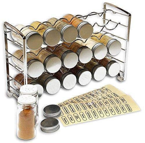 DecoBros Spice Rack Stand holder with 18 bottles and 48 Labels, Chrome - PHUNUZ