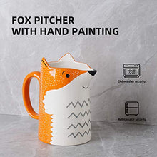 Load image into Gallery viewer, 3D Fox Ceramic Water Pitcher Carafe Hand Painted Milk Bottle for Home Made Iced Lemon Water Juice Hot Milk and Tea