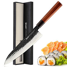 Load image into Gallery viewer, Gyuto Chef's Knife, 8 inch Japanese Style Chef Knife 3 layers 9CR18MOV Clad Steel Japanese Kitchen Knife , Alloy Steel Gyuto Knife, Sushi Knife for Kitchen/Restaurant, Octagonal Handle, Gift Box