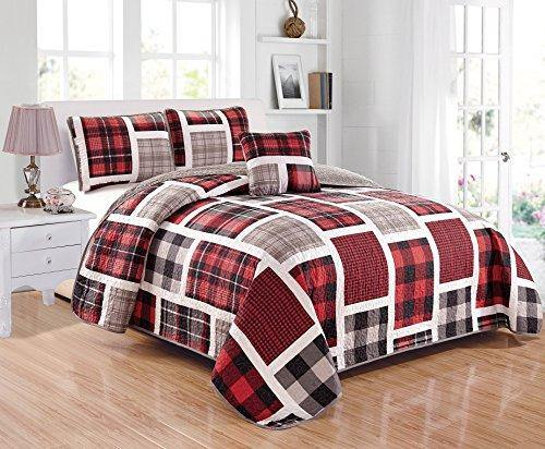 Linen Plus Quilted Bedspread Set for Teen Boys Patchwork Plaid Red Grey Black White New (Twin) - PHUNUZ