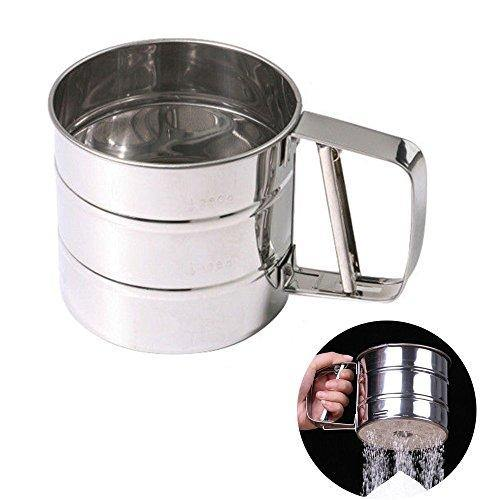 MENGCORE Baking Stainless Steel Shaker Sieve Cup Mesh Crank Flour Sifter with Measuring Scale Mark for Flour Icing Sugar - PHUNUZ