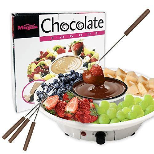 Chocolate Fondue Maker - 110V Electric Chocolate Melting Pot Set with 4 Steel Forks, Stainless Steel Bowl, Serving Tray - Upgraded Heating Material for Quick Melting - PHUNUZ