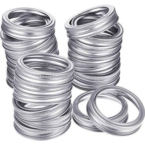 24 Pieces Regular Mouth Canning Jar Replacement Metal Rings Practical Screw Jar Bands Leak Proof Tinplate Metal Bands Rings, Compatible with Mason Jar (Silver) - PHUNUZ