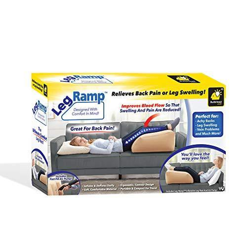 BulbHead Ramp Must-Have Elevating Rest Relieves Leg, Hip and Knee Pain, Improves Circulation, Reduces Swelling-Inflatable Bed Wedge Pillow, Beige - PHUNUZ