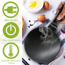 "Load image into Gallery viewer, NutriChef Electric Griddle Crepe Maker Cooktop - Nonstick 8"" Pan Style Hot Plate with On/Off Switch, Automatic Temperature Control & Cool-touch Handle, Food Bowl & Spatula Included, Black"