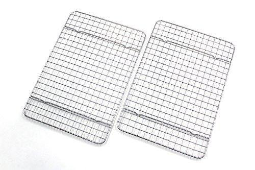 Checkered Chef Cooling Racks For Baking - Quarter Size - Stainless Steel Cooling Rack/Baking Rack Set of 2 - Oven Safe Wire Racks Fit Quarter Sheet Pan - Small Grid Perfect To Cool and Bake - PHUNUZ