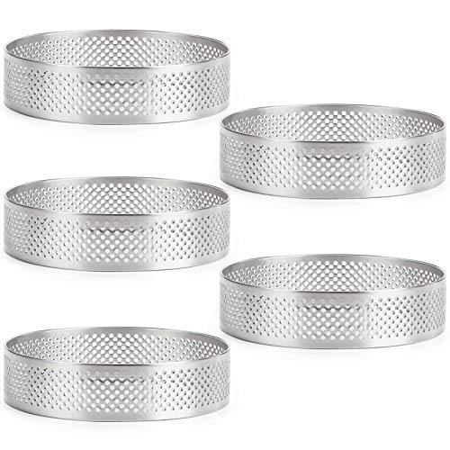 FANGSUN 5 Pack Stainless Steel Tart Ring, Heat-Resistant Perforated Cake Mousse Ring, Round - PHUNUZ
