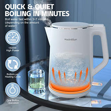 Load image into Gallery viewer, HadinEEon Electric Kettle 1.5L, 100% Stainless Steel Interior Double Wall Electric Tea Kettle, 1500W Cool Touch Water Kettle, BPA-Free with Auto Shut-Off & Boil-Dry Protection, Cordless, 120V