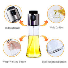 Load image into Gallery viewer, VEHHE Oil Sprayer for Cooking, Olive Oil Spray Bottle Dispenser 180ml/6 fl oz with 3pcs Silicone Brushes for Cooking, Baking, BBQ, Salad, Air Fryer, Roasting