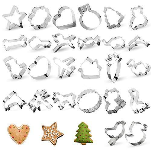 Cookie Cutters, 26 PCS Star Heart Cookie Cutters Shapes, TAOUNOA Metal Cookie Cutters for Christmas, for Kids, for Cakes, Muffins. - PHUNUZ