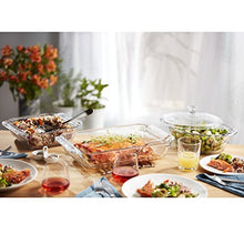 Load image into Gallery viewer, Libbey Baker's Premium 6-Piece Glass Casserole Baking Dish Set with 2 Covers