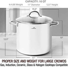 Load image into Gallery viewer, HOMICHEF Large Nickel Free Stainless Steel Stock Pot 16 Quart with Lid - Mirror Polished Stockpot 16 Quart with Lid - Heavy Soup Pot Large Cooking Pot with Lid - Healthy Cookware Induction Pot