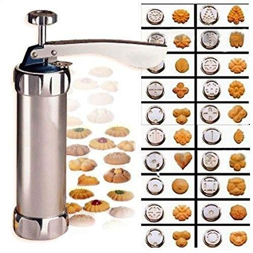Stainless Steel Cookie Press Biscuit Press Gun Set with 20 Discs Molds and 4 Icing Nozzles Tips for DIY Biscuit Maker and Decoration (20 Molds) - PHUNUZ