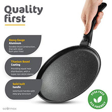 "Load image into Gallery viewer, GOURMEX Toughpan Induction Crepe Pan, Black, With Nonstick Coating - Great Skillet for Omelets and Crepes - Perfect for All Heat Sources 10"" Crepe Pan"