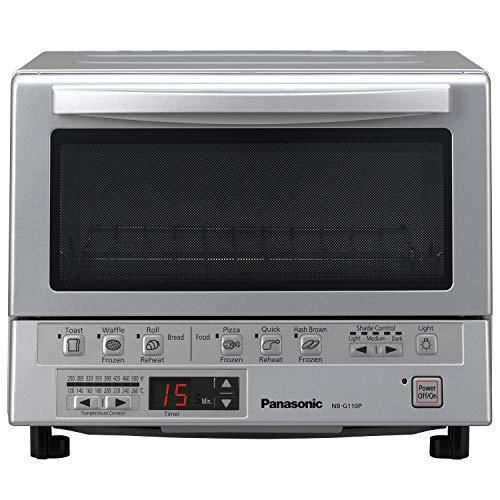 Panasonic FlashXpress Compact Toaster Oven with Double Infrared Heating, Crumb Tray and 1300 Watts of Cooking Power - 4 Slice Countertop Toaster Oven - NB-G110P (Stainless Steel) - PHUNUZ