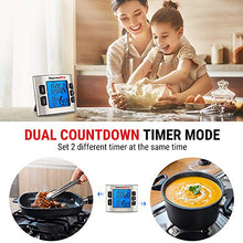 Load image into Gallery viewer, ThermoPro TM02 Digital Kitchen Timer with Dual Countdown Stop Watches Timer/Magnetic Timer Clock with Adjustable Loud Alarm and Backlight LCD Big Digits/ 24 Hour Digital Timer for Kids Teachers