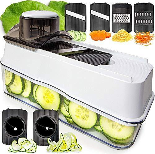 Fullstar Mandoline Slicer Spiralizer Vegetable Slicer - Veggie Slicer 6-in-1 Mandoline Food Slicer with Julienne Grater - V Slicer Mandoline Cutter - Vegetable Cutter Zoodle Maker - PHUNUZ